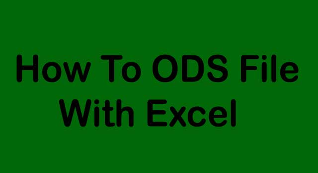 How to ODS File with Excel
